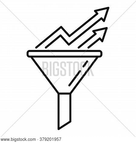 Conversion Rate Graph Funnel Icon. Outline Conversion Rate Graph Funnel Vector Icon For Web Design I