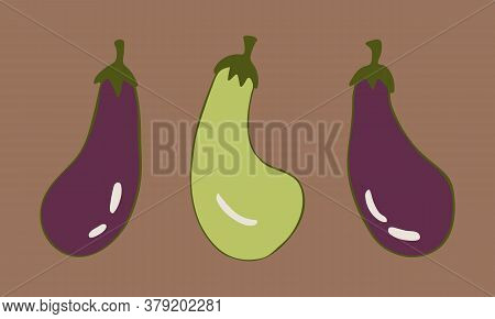 Vector Doodle Illustration Of Eggplants Or Aubergine. Hand Drawn Healthy Farm Vegetable Isolated On