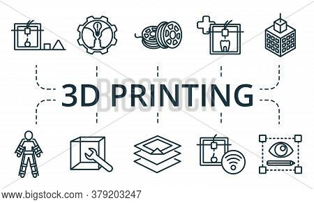 3d Printing Icon Set. Collection Contain Filament, Model, Setting, Printer, Machinery, Scanner And O