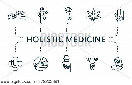 Holistic Medicine Icon Set. Collection Contain Alternative, Medicine, Reiki, Pulse, Acupuncture, Chi