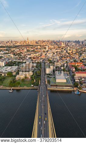 Aerial View Of Top Of Rama 8 Bridge And Chao Phraya River In Structure Of Suspension Architecture Co