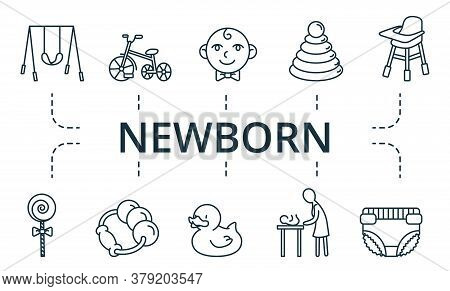 Newborn Icon Set. Collection Cbottle, Cot, Changing, Table, Safety, Lollipop, Toy, Duck, Ball, Swing