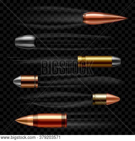 Realistic 3d Detailed Flying Bullets Set On A Transparent Background Symbol Of Danger. Vector Illust