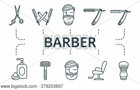 Barber Icon Set. Collection Contain Pack Of Pixel Perfect Creative Icons. Barber Elements Set.
