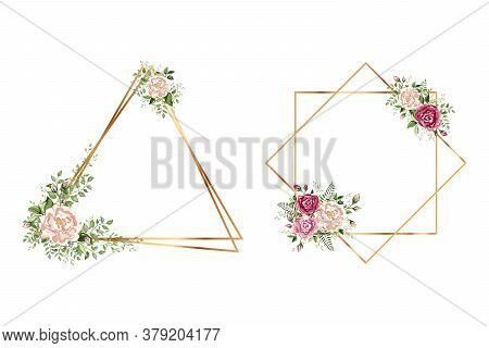 Isolated Gold Collection Of Geometrical Polyhedron With Leaves And Rose. Set Of Isolated Beautiful F
