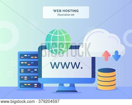 Web Hosting Illustration Set Website Display Monitor Computer Nearby Globe Server Upload Download Wi