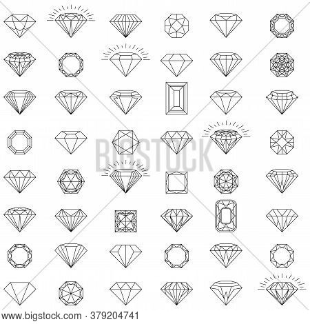 Diamond Jewelry Luxury Quality Gifts. Diamond Logo. Set Of Vector Icons. Black, Linear And Color Lux
