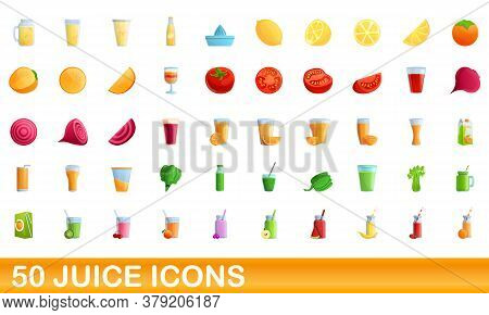 50 Juice Icons Set. Cartoon Illustration Of 50 Juice Icons Vector Set Isolated On White Background