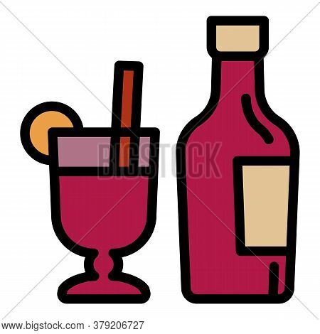 Mulled Wine Bottle Icon. Outline Mulled Wine Bottle Vector Icon For Web Design Isolated On White Bac