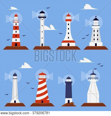 Set Of Marine Beacon Or Lighthouse Buildings Flat Vector Illustration Isolated.