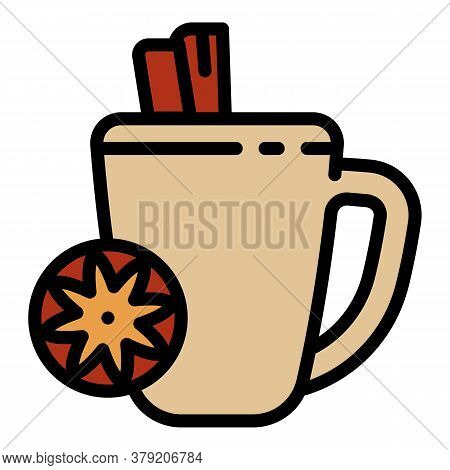 Mulled Wine Hot Cup Icon. Outline Mulled Wine Hot Cup Vector Icon For Web Design Isolated On White B