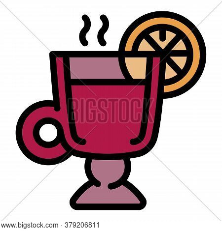 Mulled Wine Winter Cup Icon. Outline Mulled Wine Winter Cup Vector Icon For Web Design Isolated On W