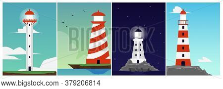 Set Of Cards Or Posters With Sea Lighthouse Or Beacon Flat Vector Illustration.