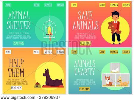 Set Of Websites Of Animal Shelter And Charity Flat Vector Illustration.