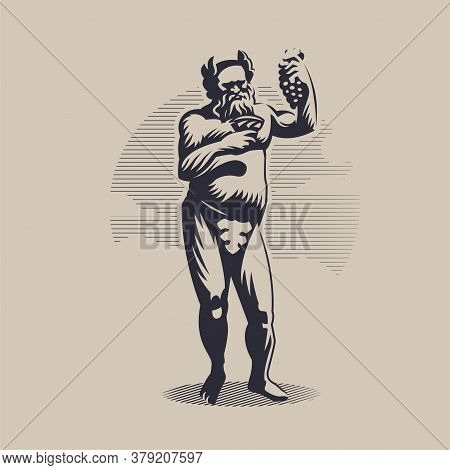 God Dionysus Or Bacchus In A Laurel Wreath And With A Fig Leaf. A Man With A Beard. He Holds A Goble
