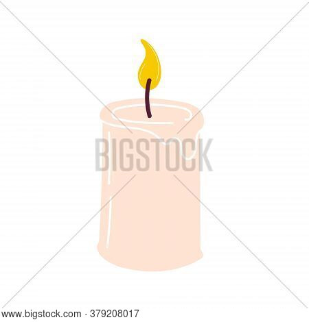 Burning Aromatic Candle For Aromatherapy And Interior Decoration, Isolated On A White Background. El