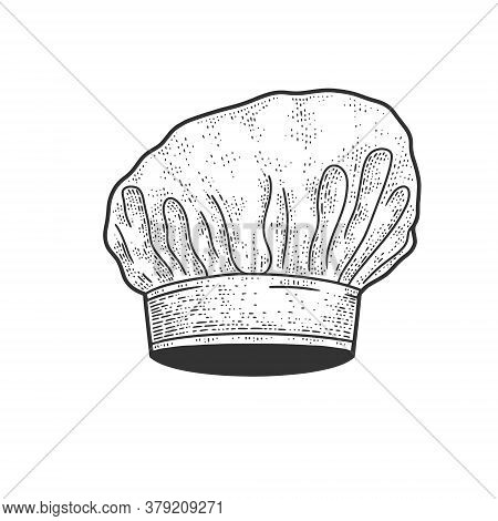 Chef White Hat Sketch Engraving Vector Illustration. T-shirt Apparel Print Design. Scratch Board Imi