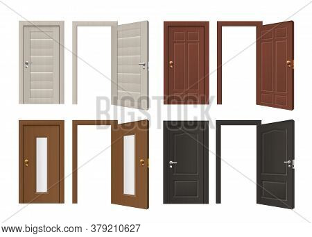 Set Templates Of Doorway With Door, 3d Realistic Vector Illustration Isolated.