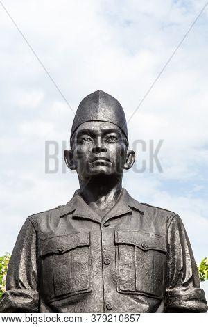 Surabaya, Indonesia - November, 05, 2017: One Of The Statues Of The Heroes Monument In Surabaya, Jav