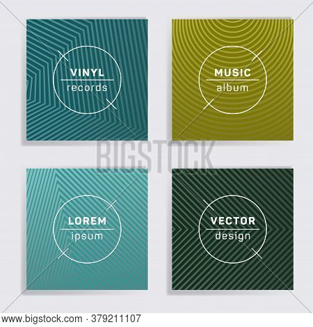 Gradient Plate Music Album Covers Collection. Halftone Lines Backgrounds. Dynamic Plate Music Record