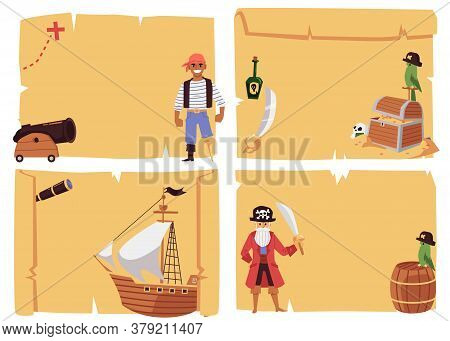 Set Of Banners For Pirates Party With Sailboats, Flat Vector Illustration.