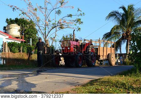 Old Tractor Of A Farmer In The Streets Of Vinales, Cuba