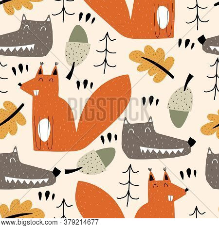 Seamless Pattern With Cartoon Wolves, Squirrels, Trees, Decor Elements. Forest, Vector Flat Scandina