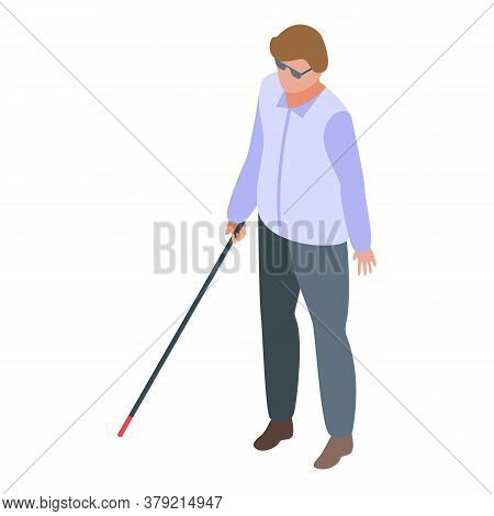 Inclusive Education Blind Boy Icon. Isometric Of Inclusive Education Blind Boy Vector Icon For Web D