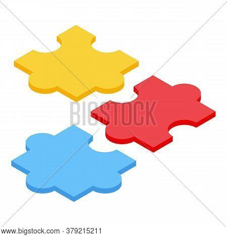 Inclusive Education Puzzle Icon. Isometric Of Inclusive Education Puzzle Vector Icon For Web Design