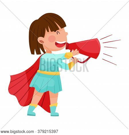 Little Girl Character Dressed In Fancy Costume Talking Megaphone Or Loudspeaker Vector Illustration