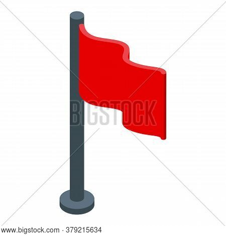Red Flag Breakthrough Icon. Isometric Of Red Flag Breakthrough Vector Icon For Web Design Isolated O