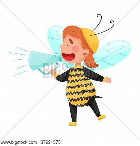 Little Boy Character Dressed In Bee Costume Talking Megaphone Or Loudspeaker Vector Illustration