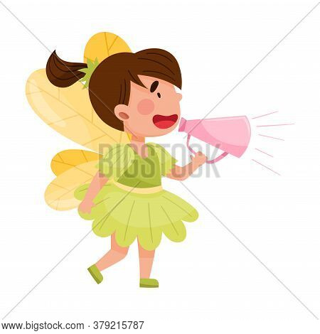Little Girl Character Dressed In Fancy Fairy Costume Talking Megaphone Or Loudspeaker Vector Illustr