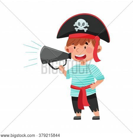 Little Boy Character Dressed In Pirate Costume Talking Megaphone Or Loudspeaker Vector Illustration