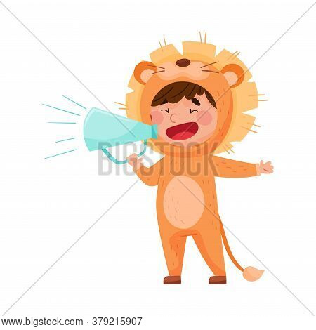 Little Boy Character Dressed In Lion Costume Talking Megaphone Or Loudspeaker Vector Illustration