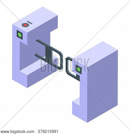 Turnstile Control Icon. Isometric Of Turnstile Control Vector Icon For Web Design Isolated On White