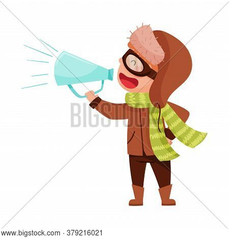 Funny Boy Character Dressed In Winter Clothing Talking Megaphone Or Loudspeaker Vector Illustration
