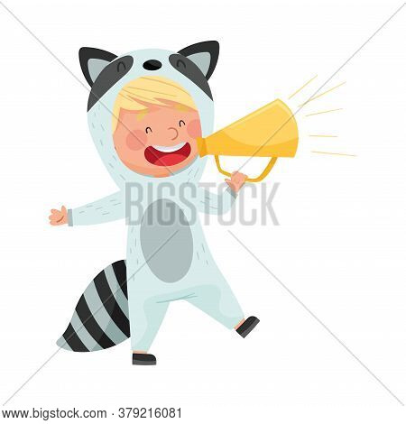 Funny Boy Character Dressed In Raccoon Costume Talking Megaphone Or Loudspeaker Vector Illustration