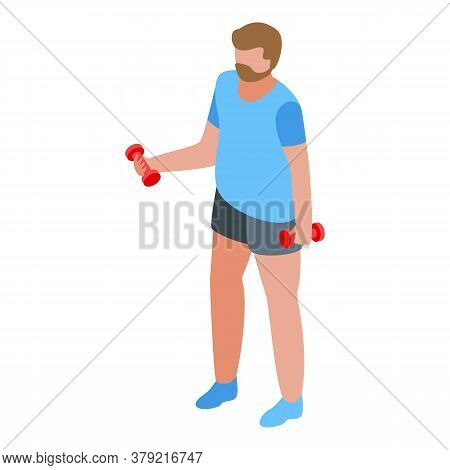 Dumbbell Exercise Personal Trainer Icon. Isometric Of Dumbbell Exercise Personal Trainer Vector Icon