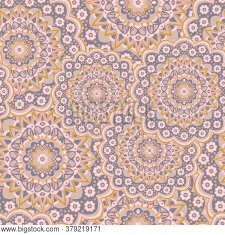 Persian Medallion Flower Seamless Ornament Vector Graphic Design. Pattern Template For Wallpaper. Cu
