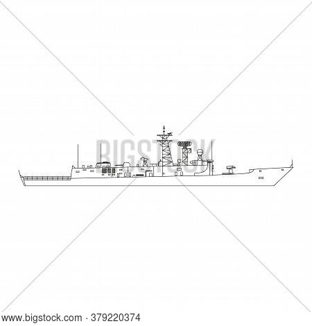 Warship Icon Flat. Illustration Isolated Vector Sign Symbol In Eps10