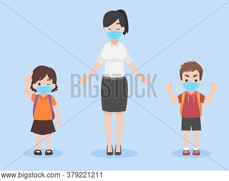 Children And Teacher In New Normal Life Wearing A Face Mask For Prevent Coronavirus, Back To School