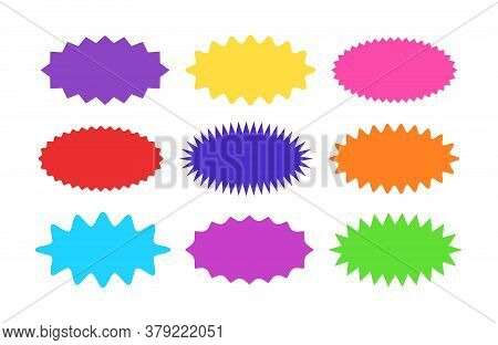 Starburst Sticker Set - Collection Of Colorful Special Offer Sale Oval Sunburst Labels And Buttons.