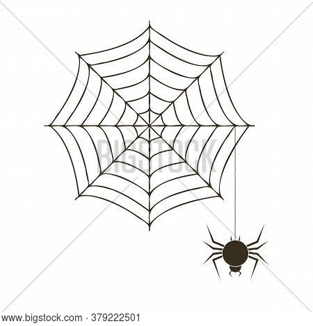 Creepy Spider Web Over White Background With Spider. Vector Halloween Illustration.