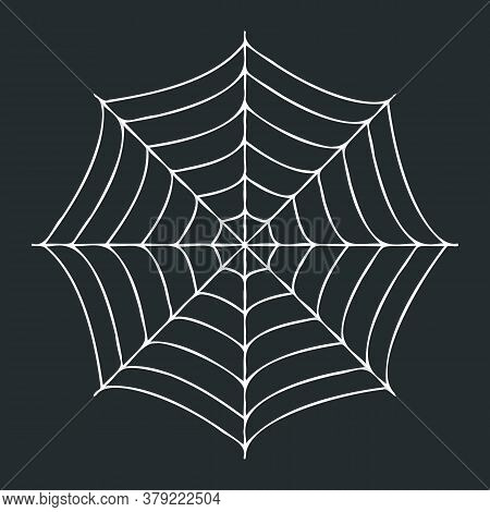 Creepy Spider Web On Black Background. Vector Halloween Illustration.