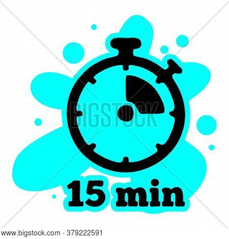 Timer Sign Icon. 15 Minutes Stopwatch Symbol. Flat Timer Icon. Simple Design Timer Symbol. Timer Gra