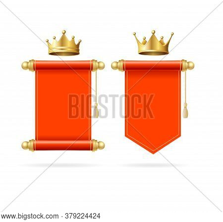 Realistic Detailed 3d Golden Crown And Blank Red Scroll Empty Template Mockup Set. Vector Illustrati