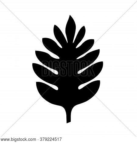 Breadfruit Black Silhouette Palm Leaf. Vector Icon