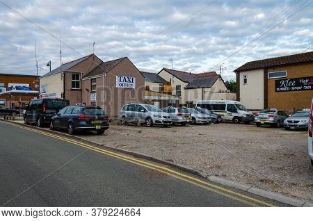 Prestatyn, Uk: Jun 6, 2020: A General Street Scene In The Town Centre With Taxi Cabs Parked Outside