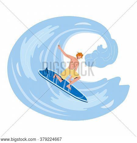 Sportsman Surfer Surfing On High Ocean Wave Vector
